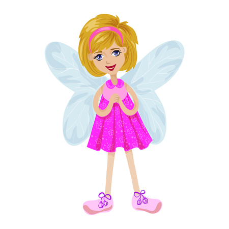 pink dress: Fairy girl in a pink dress on a white background, isolated vector illustration