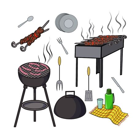 shish kebab: A set of isolated objects for outdoor recreation, Grill and barbecue, Shish kebab skewers, thermos and flasks