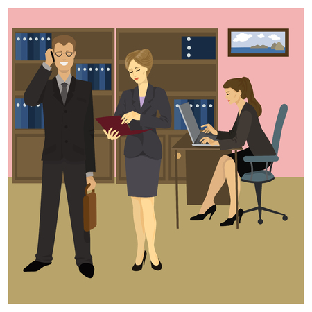 secretary office: Reception Manager, Secretary and office workers. Vector illustration Illustration
