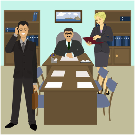 workteam: Directors Office, a Secretary and a business partner. Vector illustration