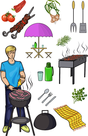 shish kebab: A set of isolated objects for outdoor recreation, Grill and barbecue, Shish kebab skewers, thermos and flasks, vegetables and herbs,Man preparing sausages, vector illustration