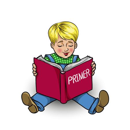 Prodigy: Pojedyncze cartoon mały chłopiec czyta książkę podkładu, ilustracji wektorowych Ilustracja