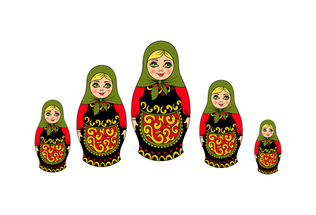 Isolated traditional Russian souvenir nesting dolls, five pieces. vector illustration Illustration