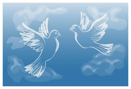 pigeons: Flying pigeons in the sky, vector illustration