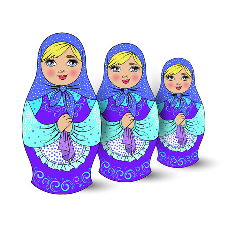souvenir traditional: Isolated traditional Russian souvenir nesting dolls, three pieces. vector illustration