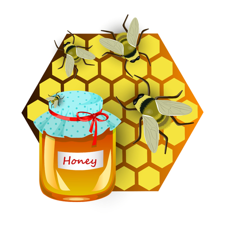 Insulated pot with honey, honeycombs and bees, vector illustration Illustration