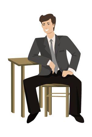 Aislado hombre joven sentado sobre un fondo blanco en un estilo plano, ilustración vectorial Foto de archivo - 60252304