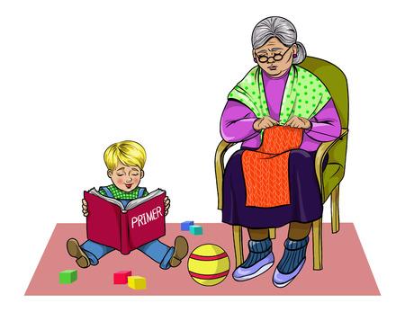 Großmutter strickt, sitzt Enkel auf dem Boden und liest ein Primer, Vektor-Illustration