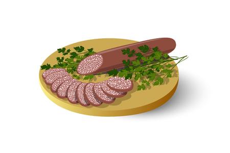 fiambres: tabla de cortar aislado con salchichas, salami, embutidos y perejil, ilustración vectorial