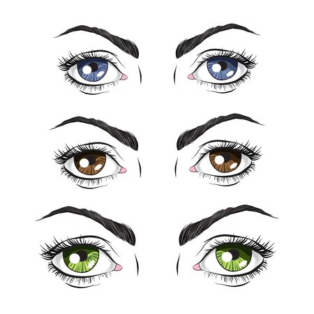 brown eyes: Set of three pairs of eyes, green, blue and Brown, vector illustration Illustration