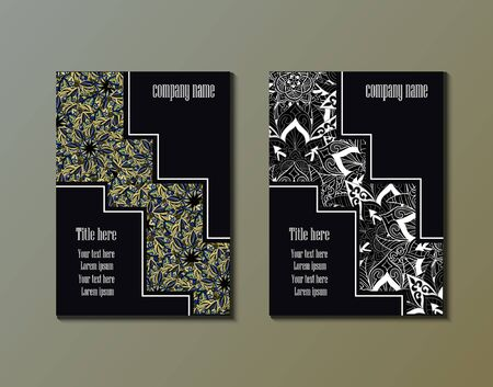 tilt: Flyer template with abstract ornament pattern. Greeting card design. Front page and back page. Vector.