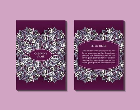 bordo: Flyer template with abstract ornament pattern. Greeting card design. Front page and back page. Vector.