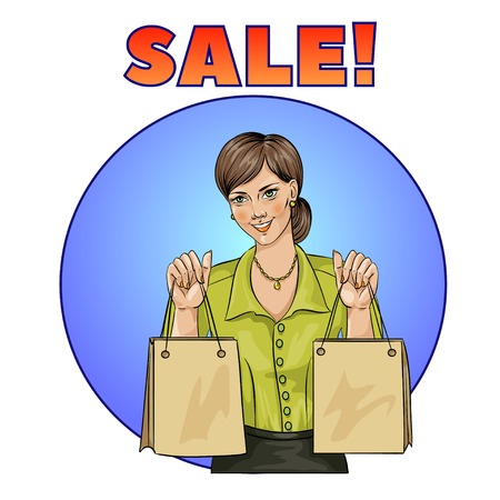 Sale pop art woman with shopping bags. Vector illustration Illustration