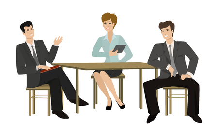 Two young men and woman-talking businessman at the table, vector illustrasion on a flat style Illustration