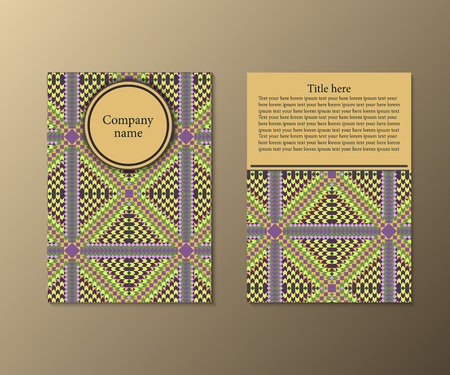 yelow: Flyer template with abstract ornament pattern. Greeting card design. Front page and back page. Vector.