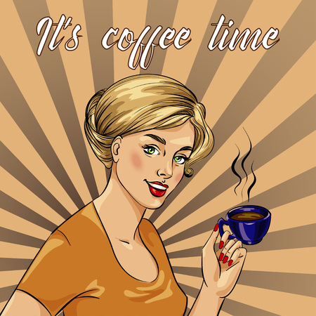 Beautiful woman drinks coffee vector illustration in retro comic pop art style. Coffee time concept poster. Illustration