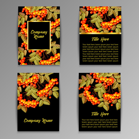 date fruit: Set of flyers brochures, templates design. Cards with rowan.