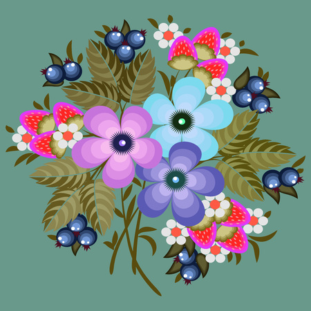 Decorative bouquet of flowers in the style of traditional Russian painting on olive background, vector illustration