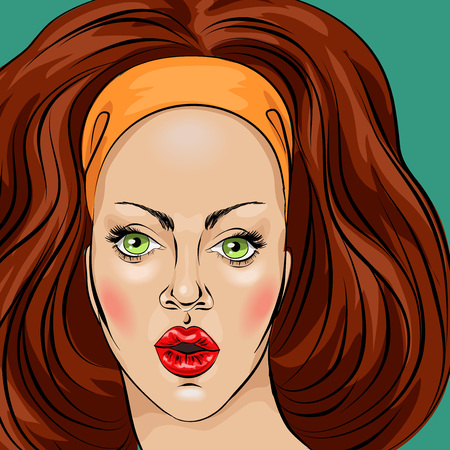 Surprised shocked young womans face close-up in the style of pop art comic book, vector illustration Illustration