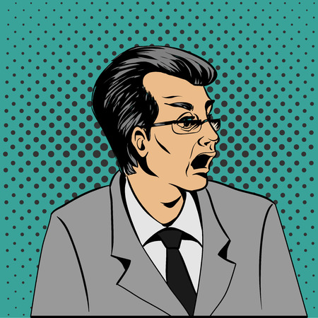Wow pop art surprised man face. Pop Art illustration of a comic style. Hand drawn vector illustration.