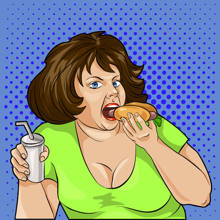 unhealthy thoughts: pop art fat woman eating a hamburger and drinks. Vector illustration.