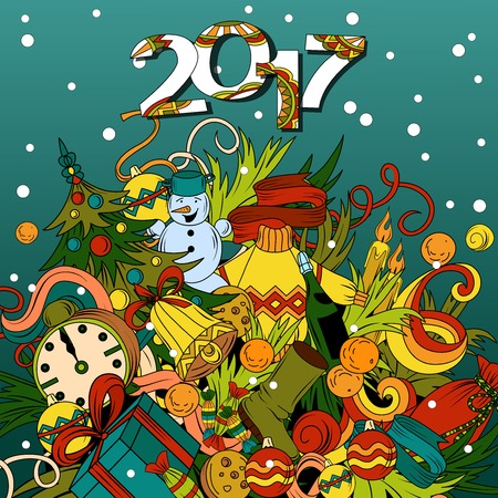 happy new years: Cartoon vector doodles hand drawn 2017 year illustration. Bright colors picture with new year theme items.