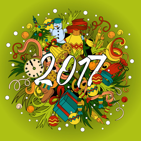 Cartoon vector doodles hand drawn 2017 year illustration. Bright colors picture with new year theme items.
