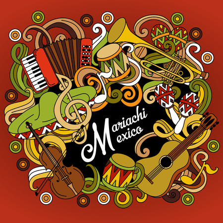 latinoamerica: Mariachi Mexico colorful festive background. Cartoon vector hand drawn Doodle illustration. Multicolored bright detailed design with objects and symbols. Illustration