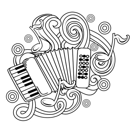 Cartoon hand-drawn doodles Musical illustration. sketch vector background with accordion and abstract objects