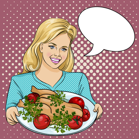 Happy thanksgiving day vector illustration. Beautiful Woman Holding a Plate with Roast Cristmas turkey. Pop Art