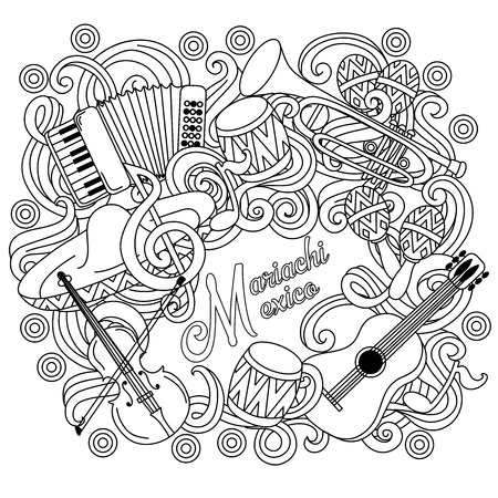 mariachi: Mariachi Mexico festive sketch background. Cartoon vector hand drawn Doodle illustration. Illustration
