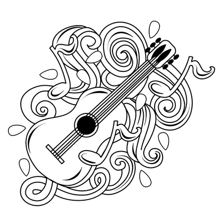 Cartoon hand-drawn doodles Musical illustration. sketch vector background with guitar and abstract objects