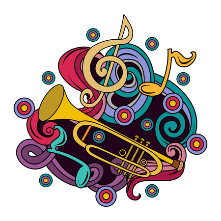 Cartoon hand-drawn doodles Musical illustration. Colorful vector background with trumpet and abstract objects Illustration