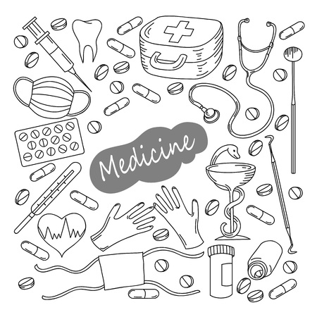 Hand drawn medicine icon set. Medical sketched collection. Healthcare, pharmacy doodle icons. Vector illustrations. Illustration