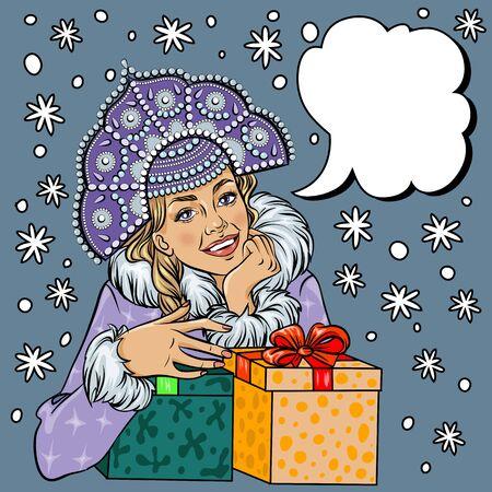 snegurochka: Vector Snow Maiden closeup in snow, pop art comic style Christmas winter woman illustration