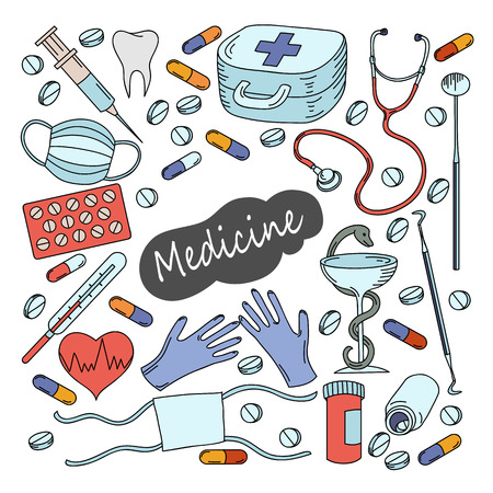 Cartoon cute doodles hand drawn Medicine illustration. Colorful detailed, with lots of objects background.