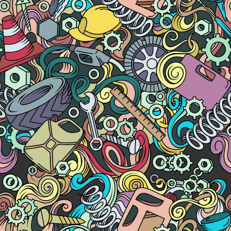 Cartoon cute doodles hand drawn Auto service seamless pattern. Colorful detailed, with lots of objects background.