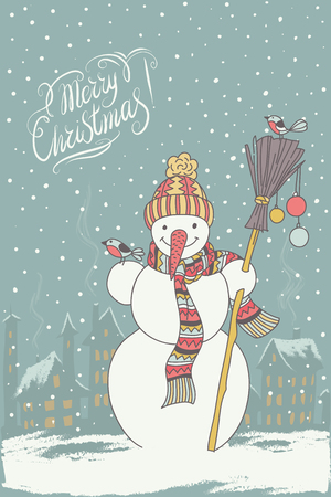 chearful: Vector Merry Christmas and New Year card with cute snowman and birds Illustration