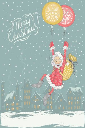 chearful: Vector Merry Christmas and New Year card with flying on Christmas balls Santa Claus Illustration