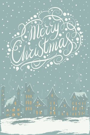 chearful: Vector Merry Christmas and New Year card an evening landscape with houses and luminous windows