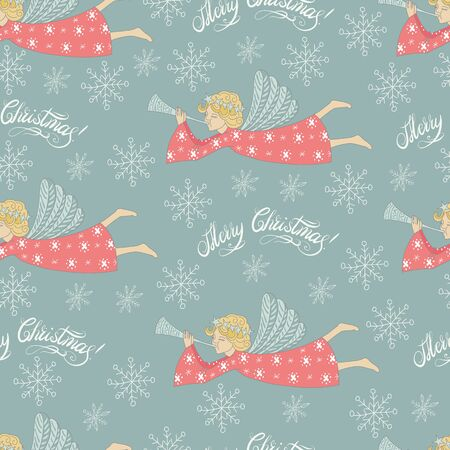 chearful: Cartoon cute hand drawn Christmas angel flying seamless pattern. Colorful pastel elements with text background.