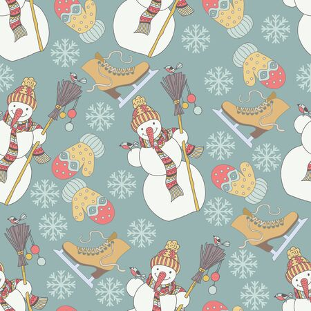 chearful: Cartoon cute hand drawn Christmas snowman and birds seamless pattern. Colorful pastel elements background.
