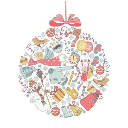 chearful: Vector Merry Christmas card with christmas tree ball background with a lot of elements Illustration