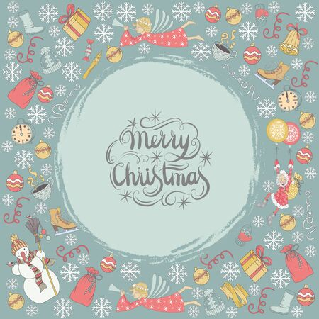 chearful: Vector Merry Christmas card with a lot of hand drawing elements and lettering Illustration