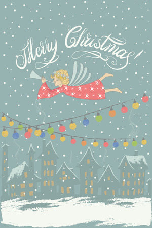 chearful: Vector Merry Christmas and New Year card an evening landscape with houses and luminous windows and flying Christmas angel