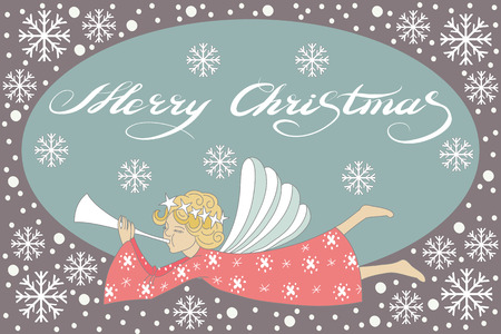 chearful: Vector Merry Christmas and New Year card with flying Christmas angel
