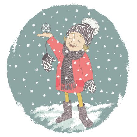 coldly: Cartoon little girl child is the first character catches snowflakes. Vector illustration