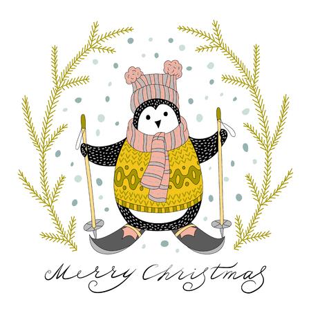 skiing: Cute hand drawn penguins by ski - Merry Christmas greetings