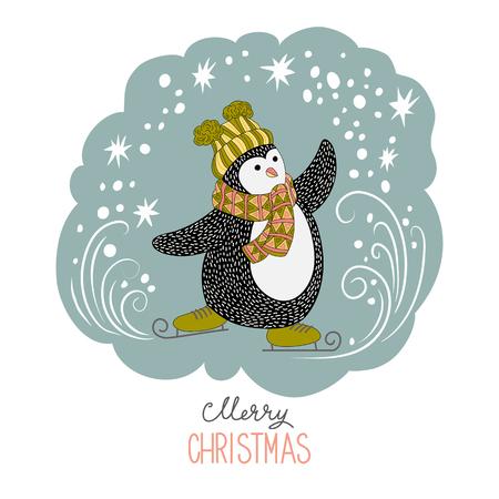 Cute hand drawn penguins on skates - Merry Christmas greetings Illustration