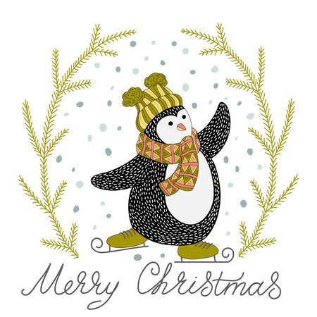 Cute hand drawn penguins on skates - Merry Christmas greetings Illustration